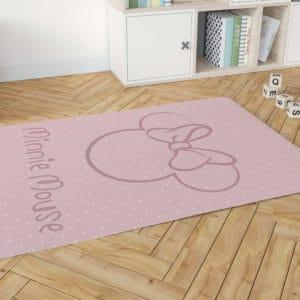 שטיח דקורטיבי גדול ומפנק לחדר ילדים – דגם מיני מאוס ורוד