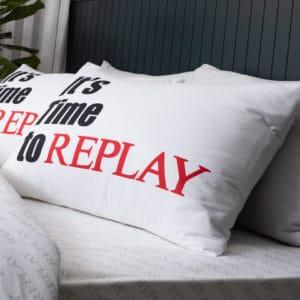 סט מצעים יחיד / מיטה וחצי 100% כותנה REPLAY פאנל