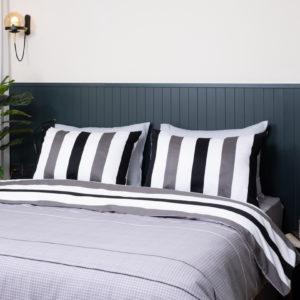 סט מצעים יחיד / מיטה וחצי 100% כותנה סאטן REPLAY פסים שחור לבן
