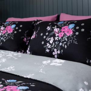 סט מצעים יחיד / מיטה וחצי 100% כותנה סאטן REPLAY פרח שחור