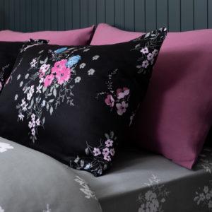 סט מצעים זוגי 100% כותנה סאטן REPLAY פרח שחור